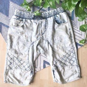 Acid Stone Wash Moto Style Elastic Shorts M